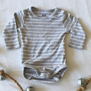 H & M Grey Striped Onesie